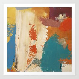 Rustic Orange Teal Abstract Art Print