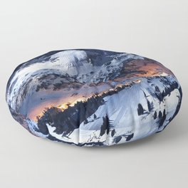 Mountain CALM IN space view Floor Pillow