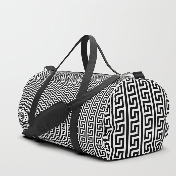 Greek Key Full - White and Black Duffle Bag