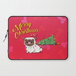 Koko Pug Christmas Red Laptop Sleeve