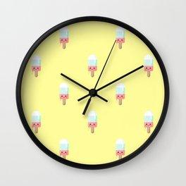Kawaii melting popsicle pattern Wall Clock