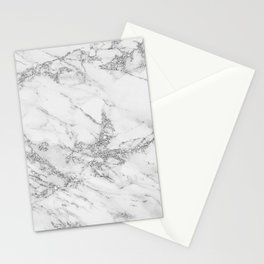 Elegant chic white gray silver glitter marble Stationery Cards
