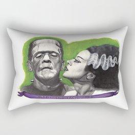 Watercolor Painting of Frankenstein & Bride Rectangular Pillow
