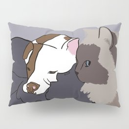 A Pit Bull and Her Kitty Pillow Sham