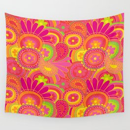 Psychedellic Paisley Orange Wall Tapestry