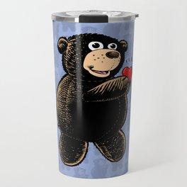 Teddy Bear Holding Heart Travel Mug