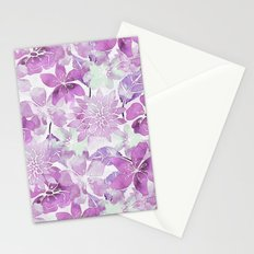Soft Pink Pastel Watercolor Flower Pattern Stationery Cards