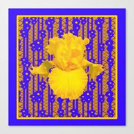 Blue-Gold Oriental Style Yellow Iris Floral Canvas Print