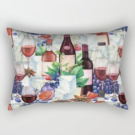 Watercolor wine glasses and bottles decorated with delicious food Rectangular Pillow