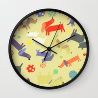 dogs Wall Clocks featuring Dogs by Amy Schimler-Safford