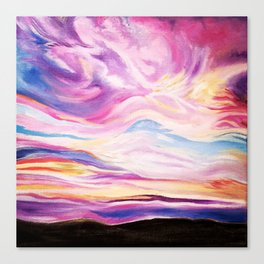 Colourful, Vibrant Abstract Sunset Oil Painting Canvas Print