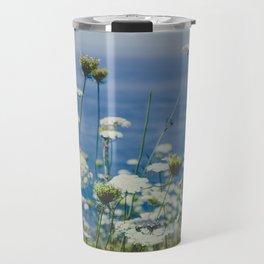 Flowers by the Beautiful Blue Sea Travel Mug