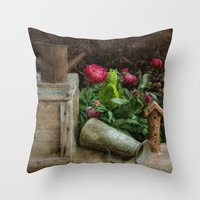 peonies Throw Pillows featuring Peonies by  Robin-Lee