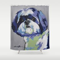 shih tzu Shower Curtains featuring Shih Tzu Pop Art Pet Portrait by Karren Garces Pet Art
