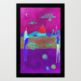 mysterious landscape and creatures Art Print