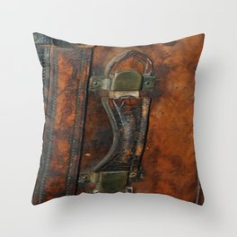 Steam-punk Vintage Steamer-trunk Handle Throw Pillow