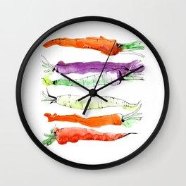 Rainbow Gardens: Carrots Wall Clock