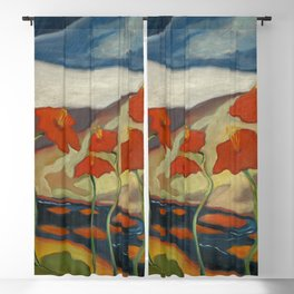 Spring Mountain Snows with Red Poppies & Calla Lilies by Blue River landscape by Zolote Palugyay Blackout Curtain