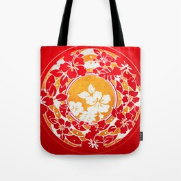 Hawaiian Red Gold Disc Tote Bag