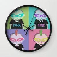 punk Wall Clocks featuring Punk? by Maripili
