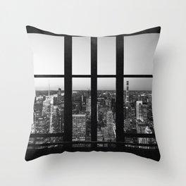 New York City Skyline Window Views in Black and White Throw Pillow