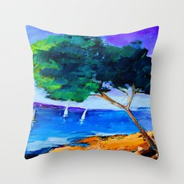 Cypress by the sea Throw Pillow