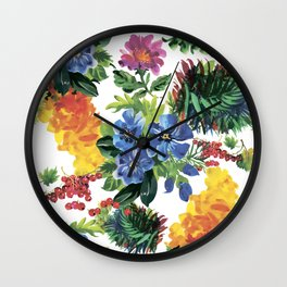 Blue painting flowers Wall Clock