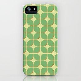 Retro green geomtric 3d pattern iPhone Case