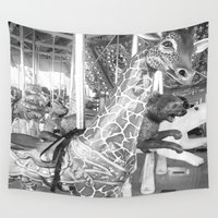 carousel Wall Tapestries featuring Carousel by raven's_revelation_city_graphics
