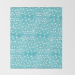 Pohutukawa flakes - blue Throw Blanket