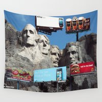 coke Wall Tapestries featuring Coke Presents Mount Rushmore by Will Johnstone