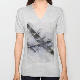 Avro Lancaster Bomber Watercolour Unisex V-Neck