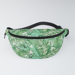 Green tropical leaves III Fanny Pack