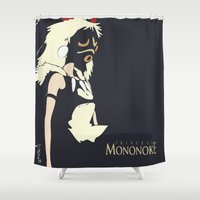 princess mononoke Shower Curtains featuring Princess Mononoke by Studio Momo╰༼ ಠ益ಠ ༽