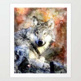 Wolf Animal Wild Nature-watercolor Illustration Art Print