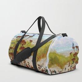 Plaid Beachscape with Dragonflies Duffle Bag