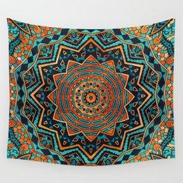 Blue and Gold Mandala Wall Tapestry