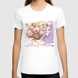 fashion #57: Girl with a lush hair and flowers in her hair T-shirt