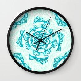 Turquoise Sea Mandalas Wall Clock
