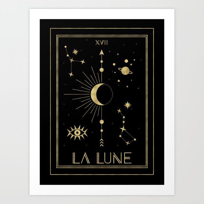 The Moon or La Lune Gold Edition Art Print