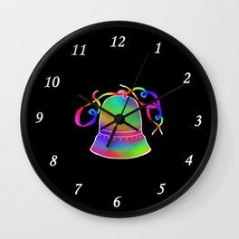 Rainbow Bell in Black Wall Clock