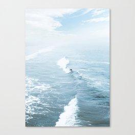 Blue Waves Surfer Canvas Print