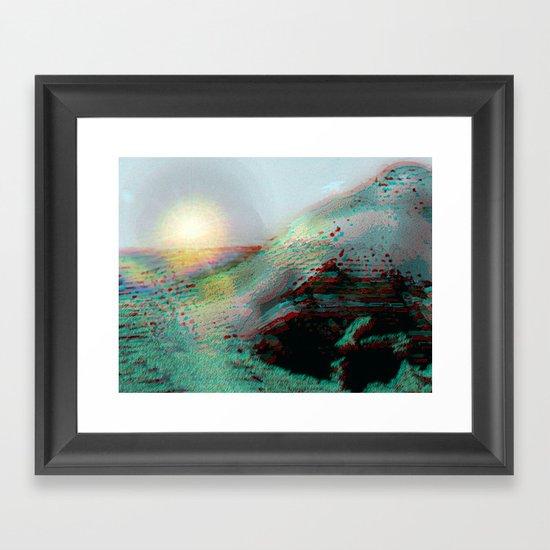 Mountainous Coastline [In Anaglyph 3D] Framed Art Print