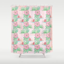 Tropical flowers and leaves watercolor Shower Curtain