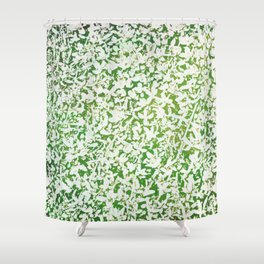 Shades of Green with White Shower Curtain