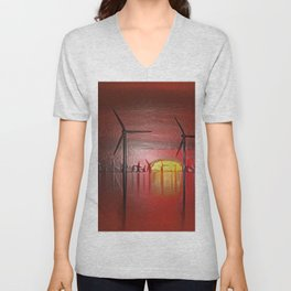 Windmills in the Sun (Digital Art) Unisex V-Neck