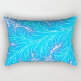 Abstract Aqua Blue Christmas Tree Branch with White Snowflakes Rectangular Pillow