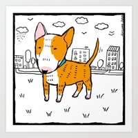bull terrier Art Prints featuring bull terrier by Ellizavetta