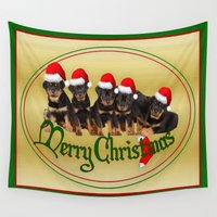 puppies Wall Tapestries featuring Merry Christmas Rottweiler Puppies Greeting Card by taiche
