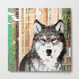 Industrial Woodland Wolf Metal Print